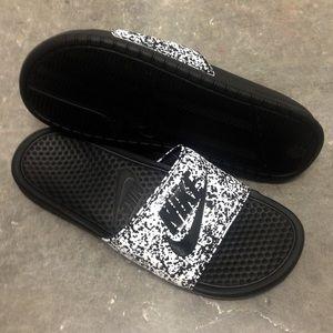 premium selection 7a141 78732 Nike Shoes - NIKE OREO BENASSI SLIDES JUST DO IT WHITE BLACK